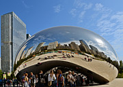Skylines Posters - Cloud Gate - The Bean - Millennium Park Chicago Poster by Christine Till