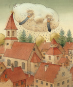 Town Drawings Prints - Cloud Print by Kestutis Kasparavicius