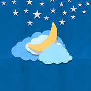 Invite Posters - Cloud Moon And Stars Design Poster by Setsiri Silapasuwanchai
