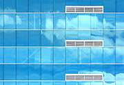 Blue Blocks Posters - Cloud Reflection In Glass Windows Poster by Tracie Kaska