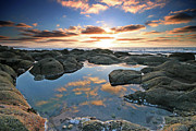 Cape Cornwall Framed Prints - Cloud reflections Cot Valley West Cornwall at sunset Framed Print by Mark Stokes