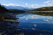 Patricia Framed Prints - Cloud Reflections in Patricia Lake Framed Print by Larry Ricker