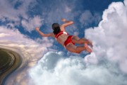 Floating Girl Digital Art - Cloud Swimming by Mike Paget