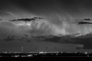 Lighning Prints - Cloud to Cloud Lightning Boulder County Colorado BW Print by James Bo Insogna