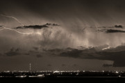 Lighning Prints - Cloud to Cloud Lightning Boulder County Colorado BW Sepia Print by James Bo Insogna
