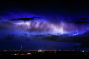 Lighning Posters - Cloud to Cloud Lightning Boulder County Colorado Poster by James Bo Insogna