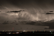 Lighning Prints - Cloud to Cloud Lightning Boulder County Colorado Sepia Color Mix Print by James Bo Insogna