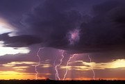 Cloud To Ground Framed Prints - Cloud to Ground Lightning at Sunset Framed Print by John A Ey III and Photo Researchers