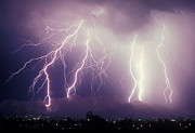 Cloud To Ground Lightning Photos - Cloud to Ground Lightning by John A Ey III and Photo Researchers