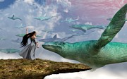 Creatures Digital Art Acrylic Prints - Cloud Whales Acrylic Print by Daniel Eskridge