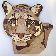 Wild Animal Sculpture Metal Prints - Clouded Leopard Metal Print by Annja Starrett