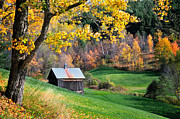 Autumn Scenes Acrylic Prints - Cloudland Rustic Barn - Pomfret Vermont Acrylic Print by Thomas Schoeller