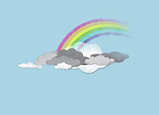 Cloudscape Digital Art Posters - Clouds And A Rainbow Poster by Jutta Kuss