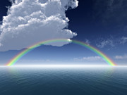Haze Digital Art Prints - Clouds and Rainbow Over Sea -- Arial View Print by Dan Collier