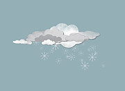 Overcast Digital Art Posters - Clouds And Snowflakes Poster by Jutta Kuss