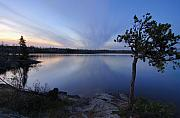 Clouds At Sunset On Seagull Lake Print by Larry Ricker