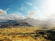 Mountain Valley Digital Art Posters - Clouds Break Over A Desert On Matsya Poster by Brian Christensen