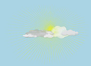 Weather Digital Art Prints - Clouds In Front Of The Sun Print by Jutta Kuss