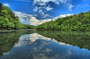 Reflections In Water Metal Prints - Clouds In The Lake Metal Print by Adam Jewell