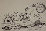 Steampunk Drawings - Clouds by Matthew Wright