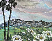 Outlook Painting Prints - Clouds Mountains and Flowers Print by Emily Michaud