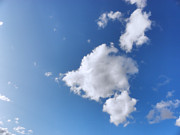 Puffy Prints - Clouds on blue sky Print by Pixel Chimp