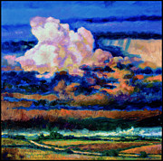 Storm Clouds Painting Originals - Clouds Over Country Road by John Lautermilch