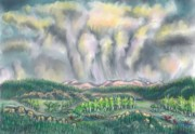 Meadow Willows Posters - Clouds Over Medicine Bow Peak Poster by Dawn Senior-Trask