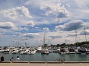 Acrylic Seascape Digital Art Posters - Clouds Over The Marina Poster by Kay Novy