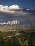 Park Scene Photos - Clouds over the Tetons by Andrew Soundarajan