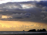 Sunset Seascape Posters - Clouds Over Tillamook Lighthouse Poster by Will Borden