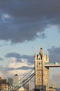 Canary Metal Prints - Clouds Over Tower Bridge And Canary Wharf; London Metal Print by Laurie Noble