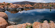 Mirror Prints - Clouds over Watson Lake Print by Dave Dilli