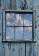 Glass Reflecting Prints - Clouds Reflected in Barn Window Print by Jill Battaglia