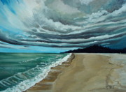 Ocean Paintings - Clouds Rolling In by Elizabeth Robinette Tyndall