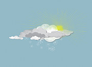 Sun In Cloud Prints - Clouds, Sun And Snowflakes Print by Jutta Kuss