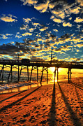 Beach Sunsets Photo Posters - Clouds To The Pier Poster by Emily Stauring