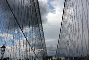 Brooklyn Bridge Prints - Cloudy Brooklyn Bridge Print by David Bearden