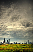 City Skylines Prints - Cloudy Chicago  Print by Emily Stauring