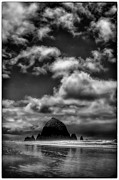 Sandy Beaches Posters - Cloudy Day at the Rock Poster by David Patterson