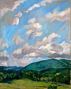 Abstract Realist Landscape Art - Cloudy Day Berkshires by Thor Wickstrom