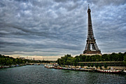 La Tour Eiffel Posters - Cloudy Evening in Paris Poster by Heather Applegate