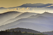 Blue Ridge Parkway Acrylic Prints - Cloudy Layers on the Blue Ridge Parkway - NC Sunrise Scene Acrylic Print by Rob Travis