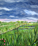 Cloudy Marsh Print by Clara Sue Beym