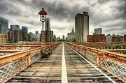 Railing Prints - Cloudy New York From Brooklyn Bridge Print by Ixefra