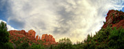 Cathedral Rock Posters - Cloudy Skies Over Cathedral Rock Poster by David Sunfellow