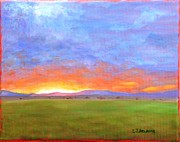 Countryside Paintings - Cloudy Sunset by L Jay Adams