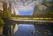 Yosemite Paintings - Cloudy Yosemite Valley by Justin  Dobbs