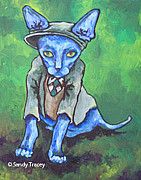 Sphynx Cat Paintings - Clover by Sandy Tracey