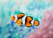 Clown Fish Mixed Media - Clown Anemonefish by Riley Geddings